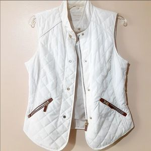 Zara Cream Quilted Sleeveless Vest Sz Medium